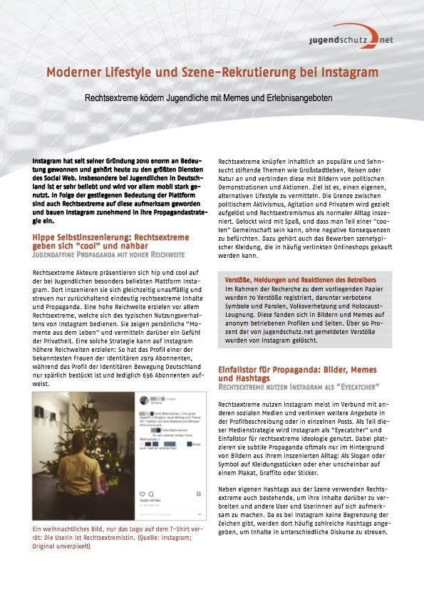 """1. Seite des Dokumentes """"Moderner Lifestyle und Szene-Rekrutierung bei Instagram"""" von jugendschutz.net"""