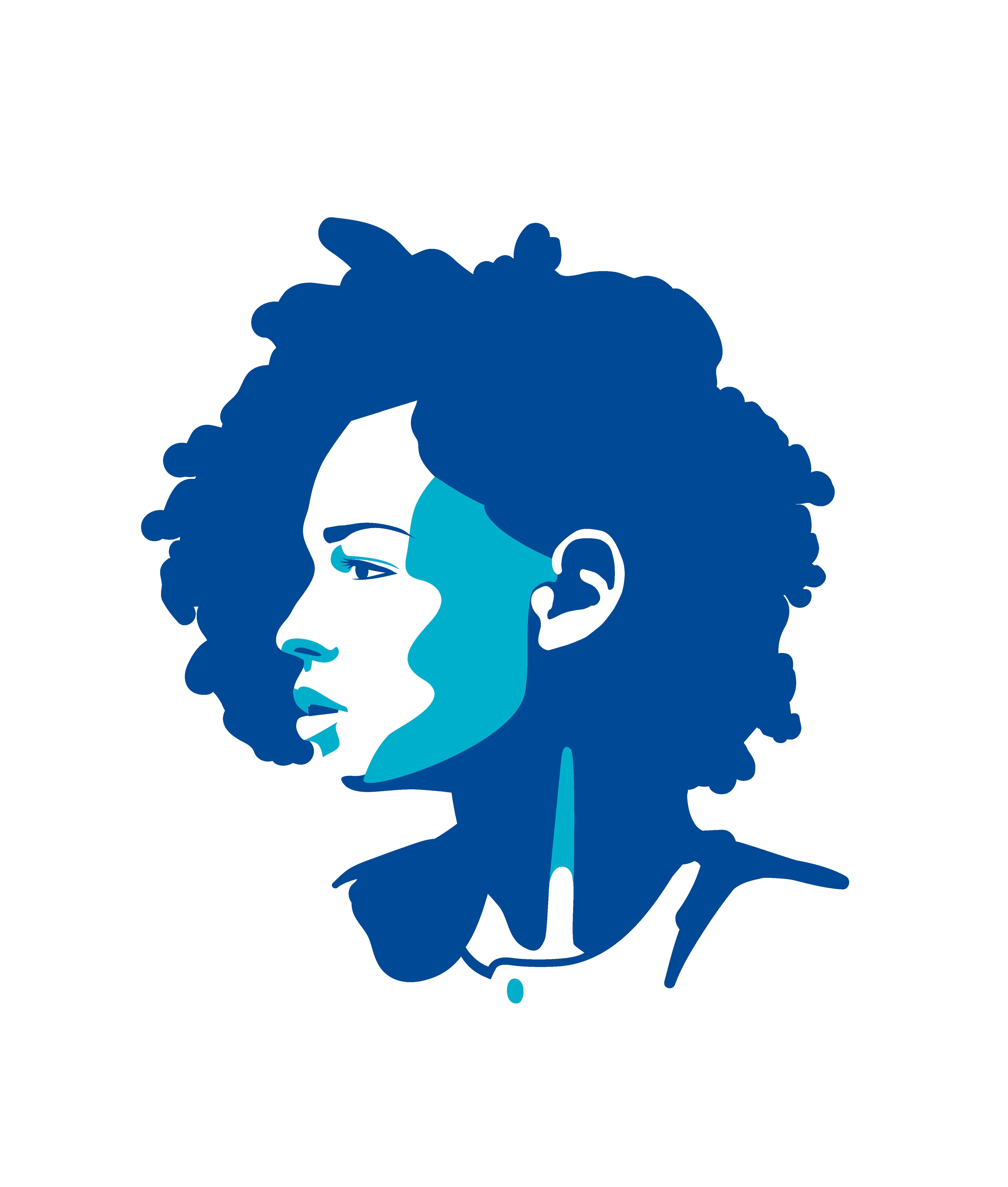 in blau gestaltete Illustration einer Person (Kopf und Schultern)