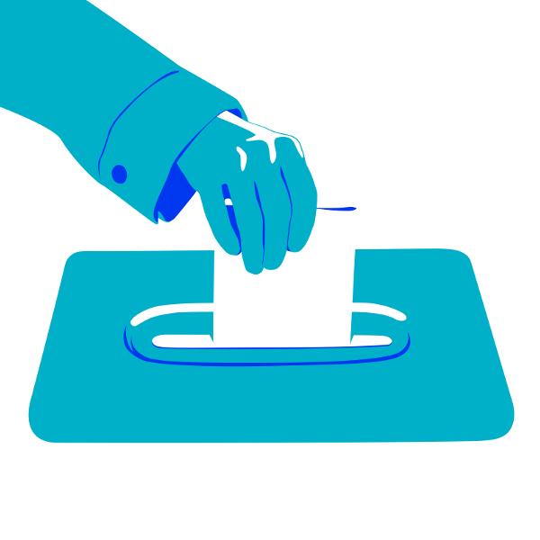 Illustration einer Hand, die einen Wahlzettel in die Wahlurne steckt