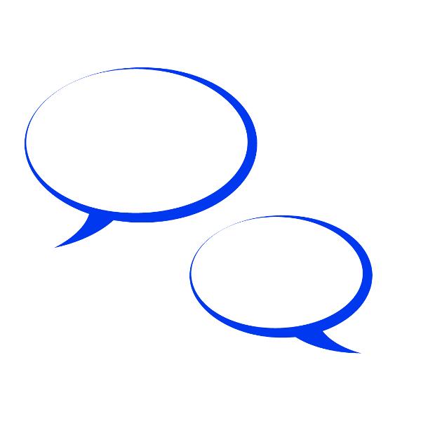 Grafik: zwei blaube Sprechblasen